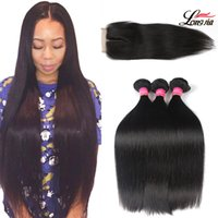 Wholesale straight peruvian 4x4 closure resale online - Peruvian Straight Hair Bundles With Closure Natural Color Straight Human Virgin Hair Bundles Bundles With Lace Closure x4 Remy Hair