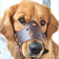 Wholesale Mouth Muzzles - New Small Big Leather Dog Muzzle Adjustable Bite Bark Stop Soft Mouth Muzzle Dog Collars Tool Drop Shipping