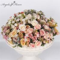 az yapay çiçekler toptan satış-Simülasyon ipek çay gül çiçek buketi Avrupa tarzı Kraliyet Küçük Gül 13 Kafaları için yapay çiçek düğün dekorasyon ev