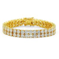 Wholesale brass jewerly - 2018 18K Gold Plated Men Charm Simulated Diamond Miami Cuban Bracelets Iced Out Bling Rhinestone Chains Hip Hop Jewelry mens jewerly