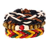 ingrosso porcellana di pietra del braccialetto-Fatto in Cina a mano intrecciato braccialetto di corda di cuoio con gioielli moda braccialetto di pietra elastica