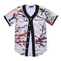 бейсбольная футболка печать оптовых-3D цветочный принт футболка Бейсбол мужская лето повседневная V шеи хип-хоп футболки топ Tee M-3XL