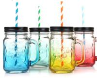 botellas de vino de vidrio de color al por mayor-Fruta Mason Jar Botella Bebida Infusión Bar de colores Café Agua Botella Oficina Amante Cerveza Copa de vino Tarro con mango Mango de vidrio