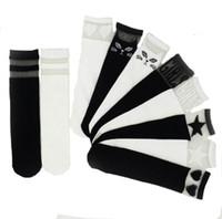 calcetines de algodón blancos hasta la rodilla al por mayor-Calcetines de los niños de encaje de moda costura rodilla del bebé calcetines altos negro blanco niñas calcetines de algodón calcetines de la escuela de algodón