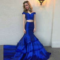 Wholesale sexy girl pipe for sale - Group buy Royal Blue Prom Dresses Two Piece Sexy Satin Elegant Fashionable Long Mermaid Evening Gowns for Prom Party Girls Graduation Dresses