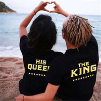Wholesale Lover Clothes Couples - Fashion Summer Lover Tee O-Neck Short Sleeves King Queen Printed T-shirt Sweet Couple Clothing S-3XL Size
