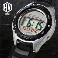 konuşan saatler toptan satış-2018 Üst Marka Alarm Konuşurken Elektronik Otomatik Erkekler İzle Spor Lüks Bilek İzle Erkek Moda Dijital Saatler Reloj H695TE-D