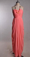 coral red dress Canada - Hot pink Coral Bridesmaid Dresses Sweetheart Floor Length Chiffon Ruffles Exquisite bridesmaids Formal Party Gowns long cheap dress