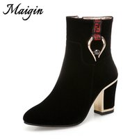 Wholesale black bootie heels shoes resale online - Maigin Block Heels Ankle Women Boots Pointed Toe High Heels Ladies Shoes New Autumn Bootie Woman Big Size Footwear
