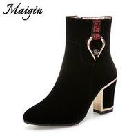 zapatos de mujer botín de tobillo al por mayor-Maigin Block Heels Botines Mujeres Botas de tacón alto Zapatos de mujer 2018 Nuevo Otoño Bootie Mujer Tamaño grande 34-43 Calzado