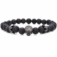 Wholesale white stone agate online - Luxury Brand Men Jewelry Micro Pave CZ Skeleton Skull Stone Energy European Buddha Natural Strand Mens Charms Beads Black Lava Rock Bracelet