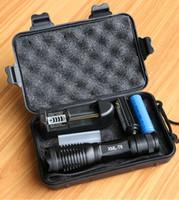 batería linterna xml t6 al por mayor-Linterna táctica LED CREE XML T6 / L2 / V6 10000 lúmenes Lanterna antorcha led ajustable linterna con zoom + cargador + 1 * 18650 batería