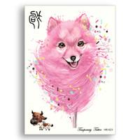 розовый блеск тела оптовых-Glitter Fake Temporary tattoo Stickers Water Transfer Waterproof Chinese Zodiacs Pink Pet Dog Flower Arm Women Men cute Body Art