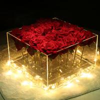 partes internas al por mayor-Caja de flores de acrílico Rose Flower Makeup Organizer Caja de regalo de flores cosmética titular con tapa extraíble y parte interna