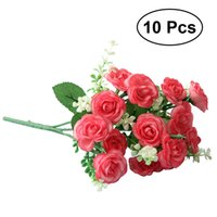 Wholesale Single Stem Roses - 10 Pcs Artificial Rose Silk Single Stem with 15 Branches Fake Plants Simulation Flowers for Party Wedding Home Decoration