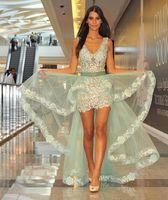 gaine robe de soirée verte achat en gros de-Robes de fiesta vert menthe gaine robes de soirée avec détachable jupe appliques col v parti courte robes de bal arabe