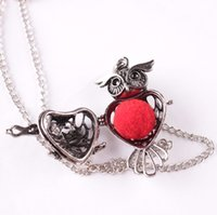 Wholesale vintage owl locket necklace for sale - Group buy Vintage Owl Necklace For Women Luxury Jewelry Sponge Aromatherapy Diffuser Pendants Necklaces Hollow Open locket Necklace