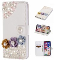 Wholesale bling cards - Luxury 3D Wallet Case For Iphone X 8 7 Plus 6 6S 5 SE Huawei P20 Mate 10 Lite Pearl Bead Leather Flower Butterfly Coque Bling Diamond Shell