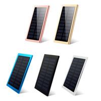 externe batterieladegerät solarzelle großhandel-Ultra dünne Solar Power Bank 20000mAh Externer Akku Tragbare Universal Handy PowerBank Ladegeräte Für iphone IPAD Android Smartphone