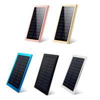 bateria externa célula solar venda por atacado-Ultra fino banco de energia solar 20000 mah bateria externa portátil universal powerbank telefone celular carregadores para iphone ipad smartphone android