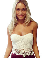 Wholesale black cropped corset - New Arrival Women's Tanks Floral Lace Bustier Top Bralet Strapless Bodycon Crop Top Party Corset Bra Black White