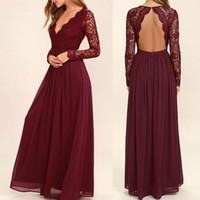uzun kollu bordo gerdansız elbise toptan satış-Bordo Şifon Gelinlik Modelleri Uzun Kollu Batı Country Tarzı V Yaka Backless Uzun Plaj Dantel Üst Düğün Pageant elbise