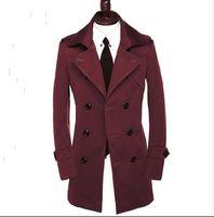 современная одежда плюс размер оптовых-Осень тонкий сексуальный двубортный пальто мужчины с длинным рукавом верхняя одежда Мужская пальто одежда пояс современный городской плюс размер 9XL