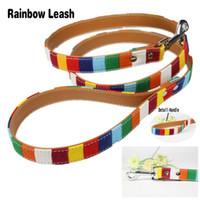 Wholesale designer dog collars leads - leash S-L Adjustable Leather Dog collar Led Designer Cavas Pu Leather Colorful Plain Pet Dog Leash Set