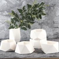 florero hecho a mano florero al por mayor-Nicole Silicone Concrete New Geometric Concrete Cement 3D Jarrón Moldes hechos a mano para macetas de cemento Macetas