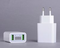çift ekranlı mobil toptan satış-LED Ekran Çift USB Telefon Şarj AB / ABD Plug Max 2.2A Akıllı Hızlı Şarj Mobil Duvar Şarj iphone iPad Samsung