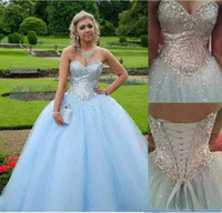 Wholesale birthday apple - Quinceanera Dresses 2018 High Quality Sequins Ball Gown Sweetheart Sleeveless Sexy Back Popular Birthday Party Evening Gowns Prom Dresses