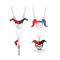 collares peliculas al por mayor-Fanáticos del cine Payaso de plata de esmalte Batman de béisbol Joker Harley Quinn collares colgantes Cosplay Fashion Movie Anime Pokey Necklace
