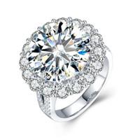 ingrosso anello solitario impostazione oro bianco-Di lusso 5ct lato solitario pietre Moissanites anello 4 polo impostazione 14k White Gold Lab Grown Diamond Ring per le donne S923 della signora
