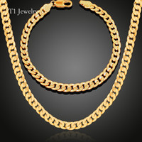 Wholesale two tone gold jewelry set resale online - Two Tone Gold Plated Necklace Bracelet Set K Gold Plated Platinum Plated Party Jewelry Perfect Gift Chains Accessories