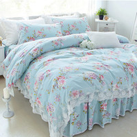 Wholesale ruffled bedding queen for sale - New Pastoral print bedding set lace ruffle duvet cover bedding elegant bedspread bed sheet princess bed cover skirt pillow sham