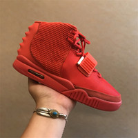 Wholesale red patent bags - Air 2 SP NRG Red October Kanye West Basketball Shoes II OCT RED Men With Dust Bag And Box Athletics Sneakers High Quality 7-13