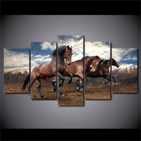 lona pintura a óleo cavalos emoldurado venda por atacado-Animais Running Horse-1 5 Peças Cópias Da Lona Arte Da Parede Pintura A Óleo Home Decor / (Sem Moldura / Emoldurado)