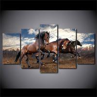 ingrosso pittura a olio eseguire cavalli-Animali Running Horse-1 5 pezzi Stampe su tela Wall Art Pittura a olio Home Decor / (Senza cornice / Con cornice)