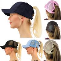 Wholesale Baseball Caps Woman - CC Ponytail Hats Messy Buns Trucker CC Pony Caps Plain Baseball Visor Cap Dad Hat OOA4722