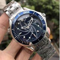 mens aço inoxidável relógio bond venda por atacado-2018 Luxo Aço Inoxidável Mens Professional James Bond Azul Preto Mostrador Mecânico Automático Relógio dos homens Relógios masculino relógio de pulso # 007