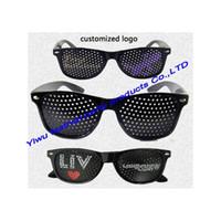 083bd5023 EventParty Fornece Óculos de Sol Promocionais Logotipo Personalizado  Impressão de Festa Pinhole Atacado arty preto noivo pinhole óculos