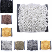 """Wholesale Iron Cross Chain - 3*4mm Link Plated Iron Metal 3mm Round """"O""""-shaped Cross Chains Jewelry Accessories Cable Chain Spool 7 Colors G180L"""