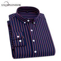 Wholesale mens dress shirt classic - 2018 Mens Business Casual Long Sleeved Shirt Men 4xl Plus Size Shirt Classic Striped Male Social Dress Shirts Outwear Yn10235