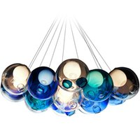 lustre en cristal livraison gratuite achat en gros de-Lustre en cristal moderne coloré boule de verre LED suspension pour salle à manger salon bar G4 led ampoule AC 85-265V livraison gratuite