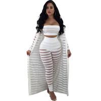 clubwear pants sets großhandel-2018 Mesh Club 3 Dreiteiliges Set Sexy Durchsichtig Bh Hosen Strickjacken Nacht Party Kleidung Passenden Frauen Sets Clubwear