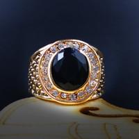 homens de anel de gemstone preto venda por atacado-Diamante anel de ouro Alloy Moda Mão Jóias fabricantes New Wave Men Retro Preto Anel de Gemstone jóias masculinas Atacado personalizado