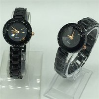 Wholesale mirror clocks - Fashion Women Diamonds Wrist Watches black casual dress cutting mirror face Top Luxury Brand Dress Ladies Geneva Quartz Clock