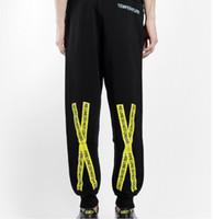 Wholesale Haroun Pants - Free Shipping New Spring C O VIRGIL ABLOH Casual Men Pants Shark High Quality Pants Print Embroidery Feet Haroun Pants Plus Size
