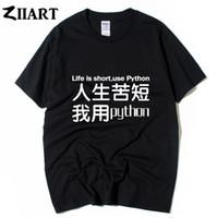ingrosso camicie di carattere dei ragazzi-la vita è breve uso python cinese carattere paio abiti uomo ragazzi maschio o-collo in cotone a maniche corte T-shirt