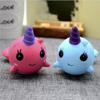 Wholesale Wholesale Dolls Toys - 8cm unicorn Squishy Toys for Kids slow rising squishy Finger Doll Puppets squishy unicorn whales Toy Stretchy Animal Healing Stress Paste